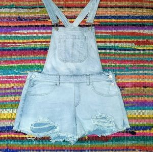 Refuge Ripped/Destroyed Denim Overall Jean Shorts